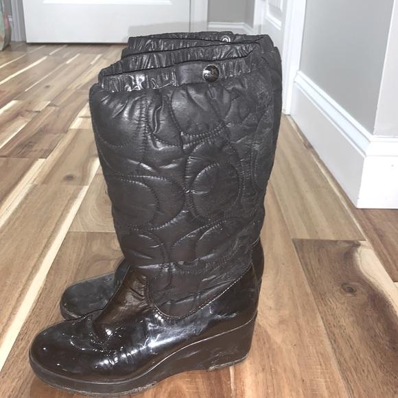 Coach heeled rain boots